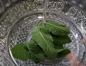 cleaning mint leaves